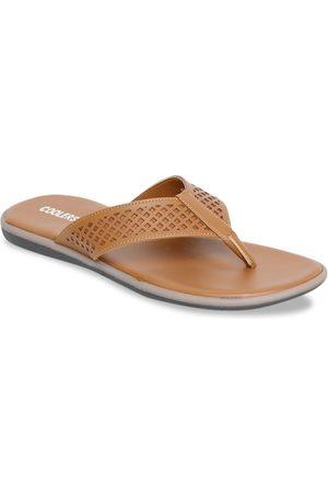 Liberty Men Tan Brown Self Design Thong Flip-Flops
