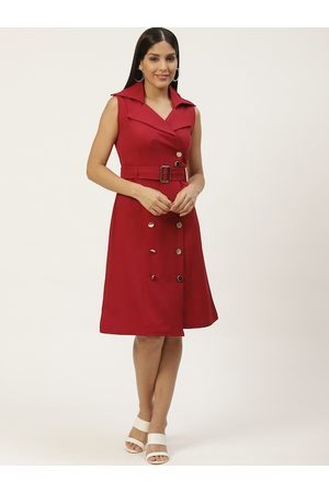 Woowzerz Women Maroon Solid Trench Dress