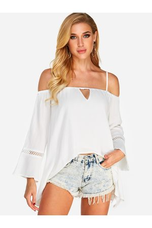 YOINS Ut Out Cold Shoulder Long Sleeves Blouses With High-Low Hem