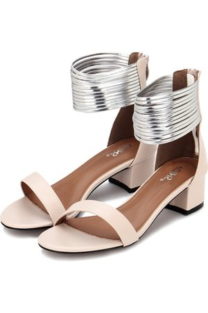 YOINS Pink Leather Look Zip Closure Block Heel Sandals With Gold Circles