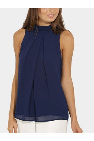 YOINS High Neck Open Back Pleated Chiffon Tank Top