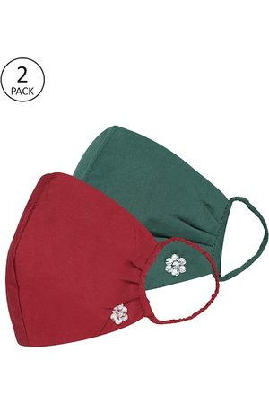 Quiero Women Pack of 2 Solid 2-Ply Reusable Outdoor Cloth Masks with Studded Detail