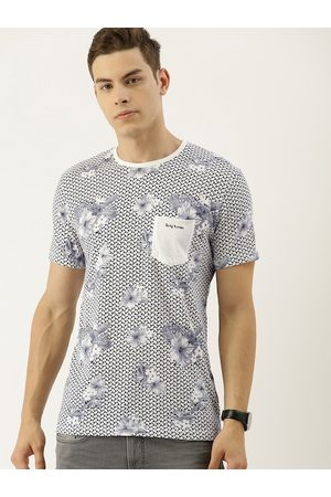 Being Human Men Off-White & Grey Floral Printed Round Neck T-shirt