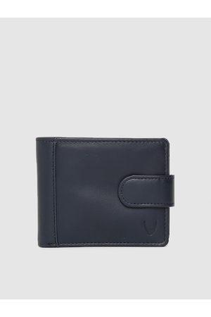 Hidesign Men Navy Blue Solid Two Fold Wallet
