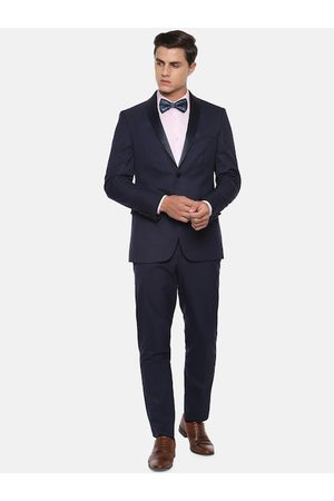 Louis Philippe Men Navy Blue Checked Slim-Fit Single-Breasted Formal Suit