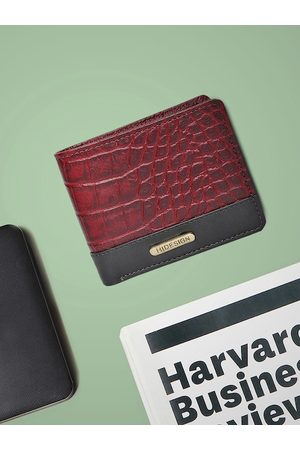 Hidesign Men Red & BlackCrocodile Skin Textured Two Fold Leather Wallet