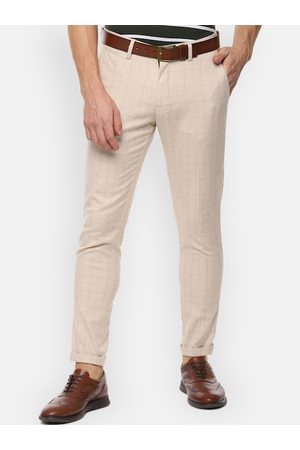 Louis Philippe Men Beige Slim Fit Checked Regular Trousers