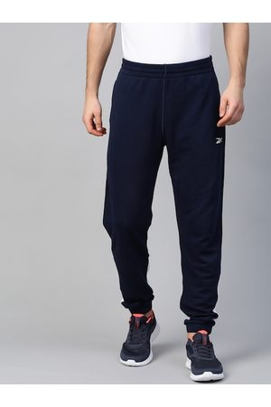 Reebok Men Navy Solid Training Essentials Linear Logo French Terry Joggers