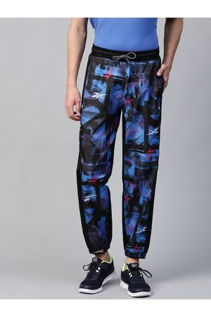 Reebok Men Black & Blue Meet You There All Over Print Training Joggers