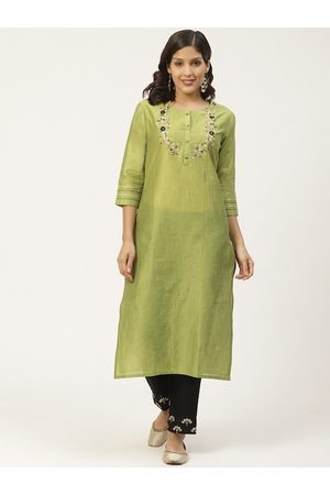 Varanga Women Green & Black Zari Yoke Design Kurta with Palazzos