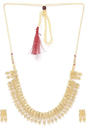 Zaveri Pearls Gold-Plated Textured Jewellery Set