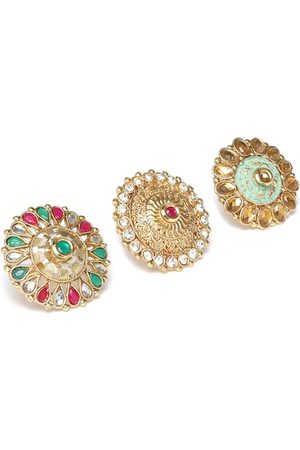 Zaveri Pearls Women Set of 3 Gold-Plated Stone-Studded Adjustable Finger Rings