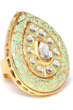 Zaveri Pearls Women Sea Green Gold-Plated Enamelled Kundan-Studded Adjustable Finger Ring