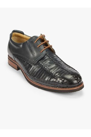 Florsheim Men Navy Blue Leather Textured Derbys