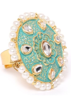 Zaveri Pearls Women Sea Green Gold-Plated Kundan-Studded Enamelled Adjustable Finger Ring