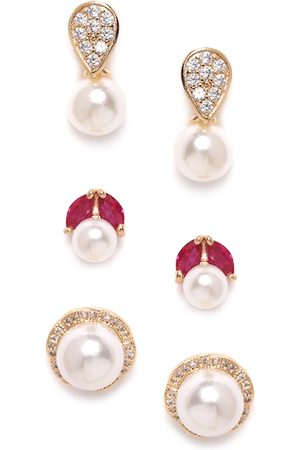 Zaveri Pearls Women Set of 3 Gold-Plated CZ Stone Studs