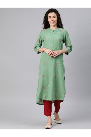 ALENA Women Green & Red Woven Design Straight High-Low Kurta