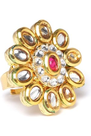 Zaveri Pearls Women Magenta Gold-Plated Kundan-Studded Adjustable Finger Ring