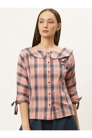 Style Quotient Women Peach-Coloured Checked Top