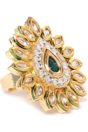Zaveri Pearls Women Gold-Plated Kundan-Studded Teardrop-Shaped Adjustable Finger Ring
