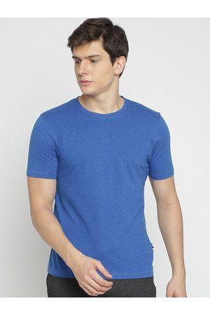 Crocodile Men Blue Solid Round Neck Slim Fit T-shirt
