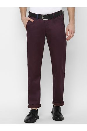 Allen Solly Men Burgundy Slim Fit Solid Regular Trousers