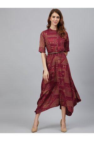 Juniper Women Maroon & Golden Printed Asymmetric Hem A-Line Dress