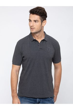 Globus Men Charcoal Grey Solid Polo Collar T-shirt