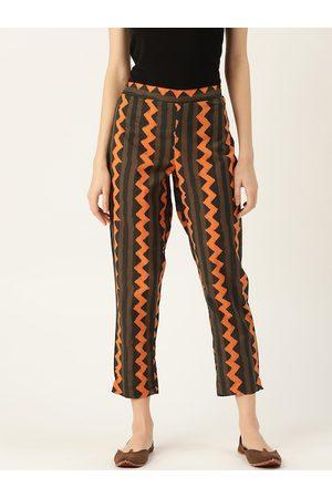 Sangria Women Olive Brown & Orange Regular Fit Bagru Printed Cropped Sustainable Trousers