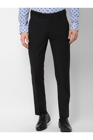 Simon Carter Men Black Slim Fit Solid Formal Trousers