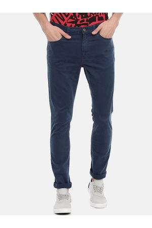 Breakbounce Men Navy Blue Slim Fit Solid Regular Trousers