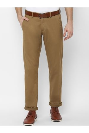 Allen Solly Men Khaki Slim Fit Solid Regular Trousers