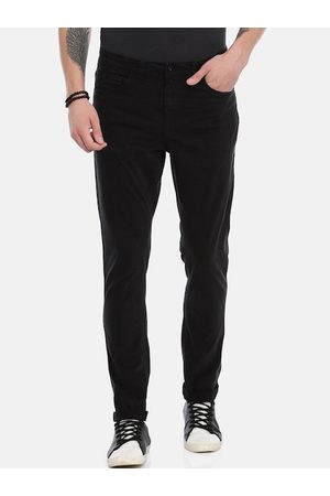Breakbounce Men Black Slim Fit Solid Regular Trousers