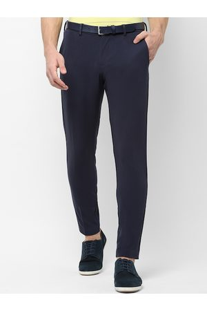 Allen Solly Men Navy Blue Slim Fit Solid Regular Trousers