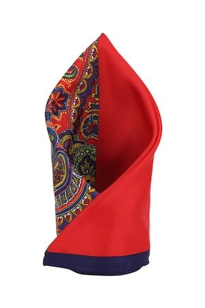 Louis Philippe Men Red Pocket Square