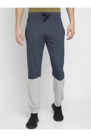 Crocodile Men Blue & Grey Colurblocked Slim-Fit Joggers