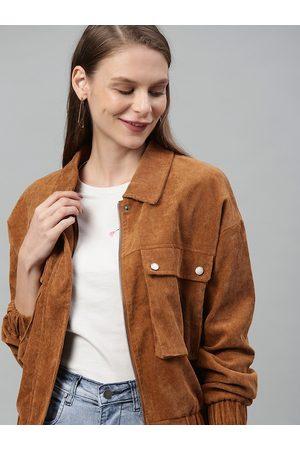 Mast & Harbour Women Brown Self Design Open Front Jacket