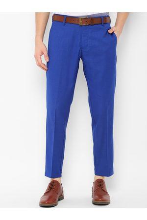 Allen Solly Men Blue Slim Fit Solid Regular Trousers