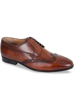 Kenneth Cole Men Tan Brown Solid Leather Formal Brogues