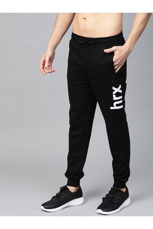 HRX Men Jet Black Solid Regular Fit Bio-Wash Lifestyle Joggers