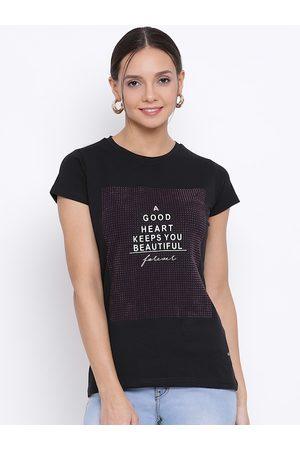 Crimsoune Club Women Short Sleeve - Women Black & Mauve Printed Round Neck T-shirt