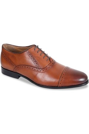 Kenneth Cole Men Tan Brown Solid Leather Formal Semi Brogues