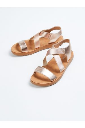 Ginger by Lifestyle Women Gold-Toned Solid Open Toe Flats