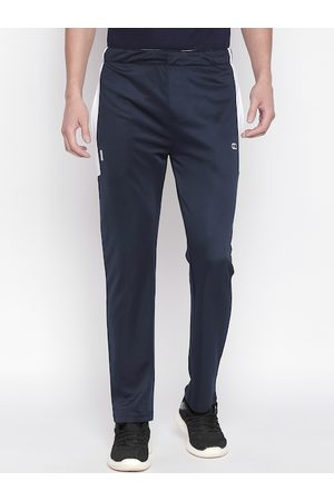 Pantaloons Men Navy Blue & White Solid Slim-Fit Track Pants