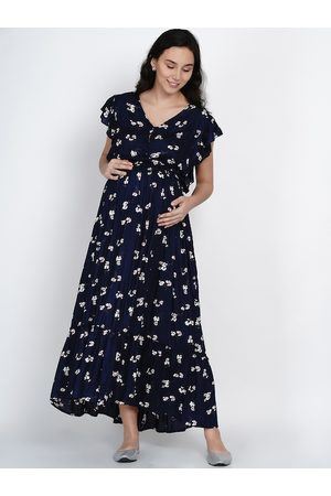 Mine4Nine Women Navy Blue Printed A-Line Dress