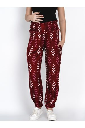 Mine4Nine Women Maroon Relaxed Regular Fit Printed Maternity Joggers