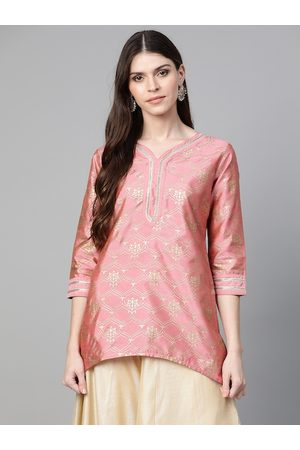 Bhama Couture Women Pink & Golden Printed Asymmetric Tunic