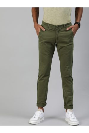 Urbano Fashion Men Olive Green Slim Fit Solid Regular Trousers