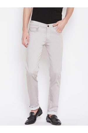 Nation Polo Club Men Grey Skinny Fit Solid Regular Trousers
