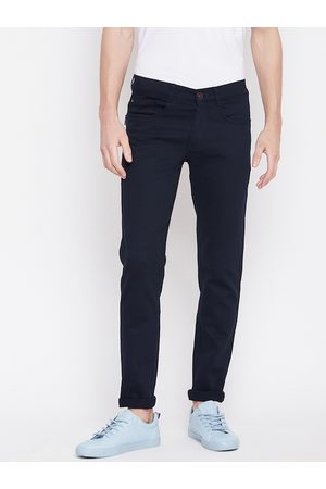 Nation Polo Club Men Navy Blue Skinny Fit Solid Regular Trousers